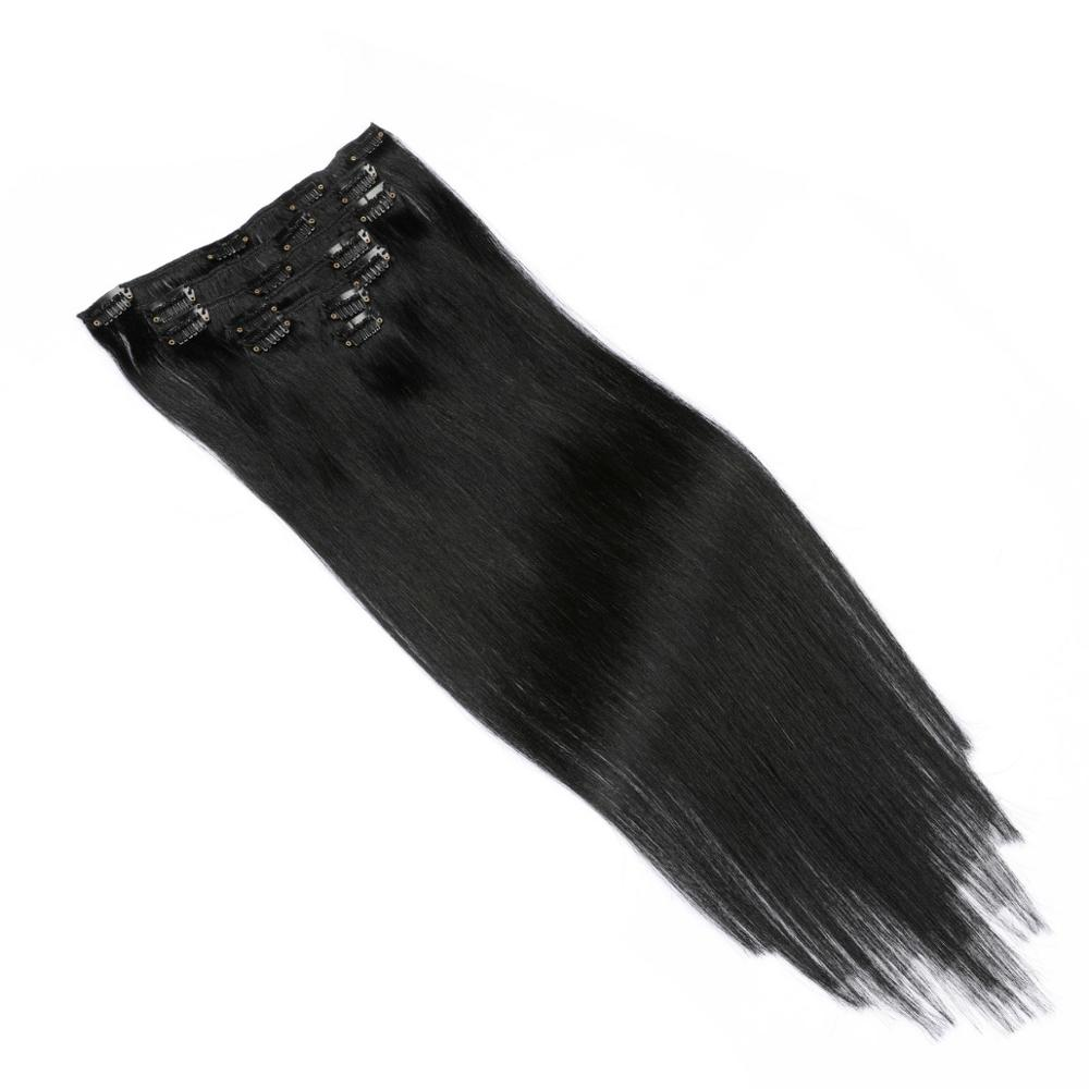 Brazilian Remy Straight Hair Clip In Human Hair Extensions Natural Color 8 Pieces/Set Full Head Sets 1
