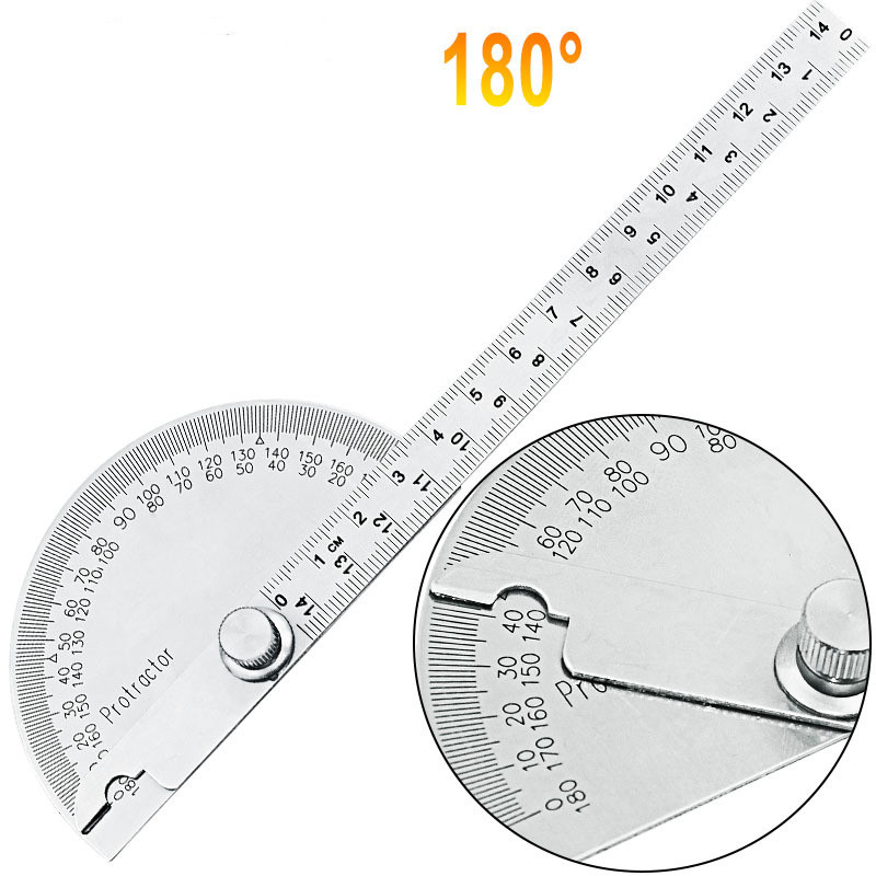 14.5cm 180 Degree Adjustable Stainless Steel Multi-function Conveyor Round Head Angle Ruler Mathematical Measuring Tool
