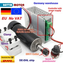 цена на 【EU ship】 Air cooled 0.5kw Air cooled spindle ER11 chuck CNC 500W Spindle Motor + Power Supply speed governor For DIY CNC ROUER