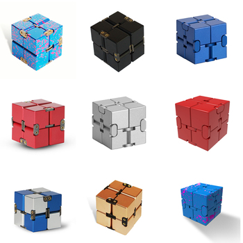 Infinite magic cube Aluminium Cube Toys Premium Metal Magic Infinite stress relief Cube Stress Reliever for EDC Cube tanie i dobre opinie AZMA 6 lat