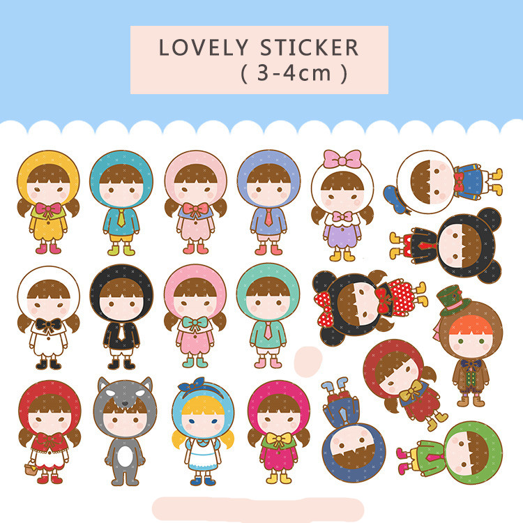 40PCS Cartoon Cute Girl Stickers Crafts And Scrapbooking Stickers Book Student Label Decorative Sticker Kids Toys