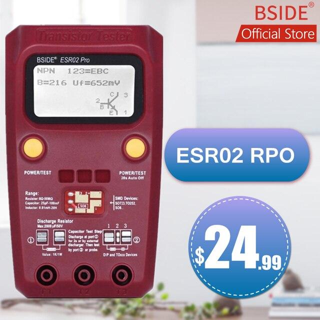 BSIDE ESR02PRO דיגיטלי טרנזיסטור SMD רכיבים Tester דיודה טריודה קיבוליות השראות מודד מד