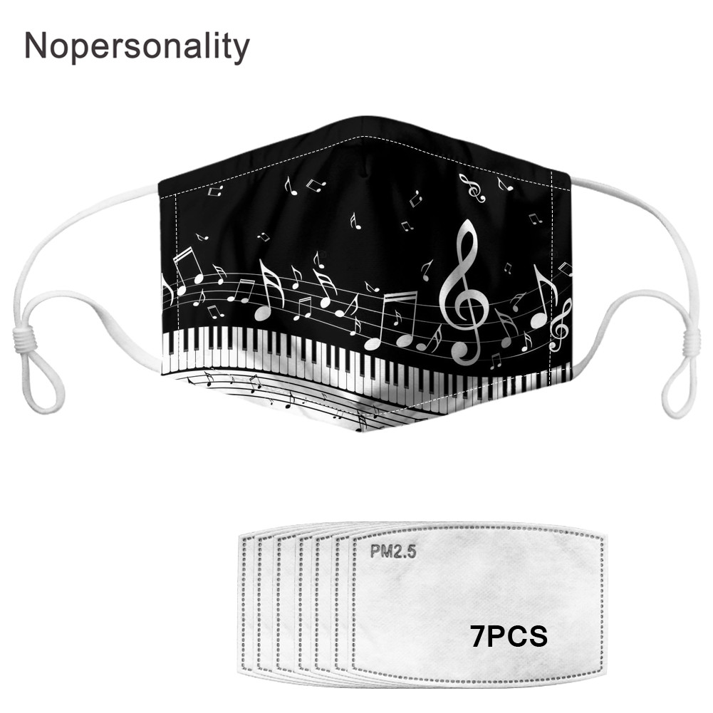 Nopersonality Music Note Piano Guitar Print Adults Face Mask Washable Breathable Kids Mouth Dust-Face Mask With 7 Filters