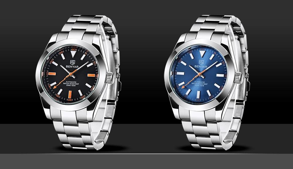 luxo aço inoxidável mecânico automático relógio masculino