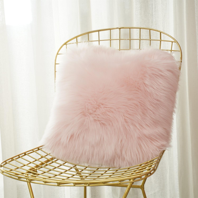 New  Artificial Wool Fur Sheepskin Cushion Cover Hairy Faux Plain Fluffy Soft Throw Pillowcase Washable  Solid Pillow Case