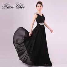 Sleeveless V Neck Formal Prom Gowns Vestido de noite A-line Long evening Dresses Cheap