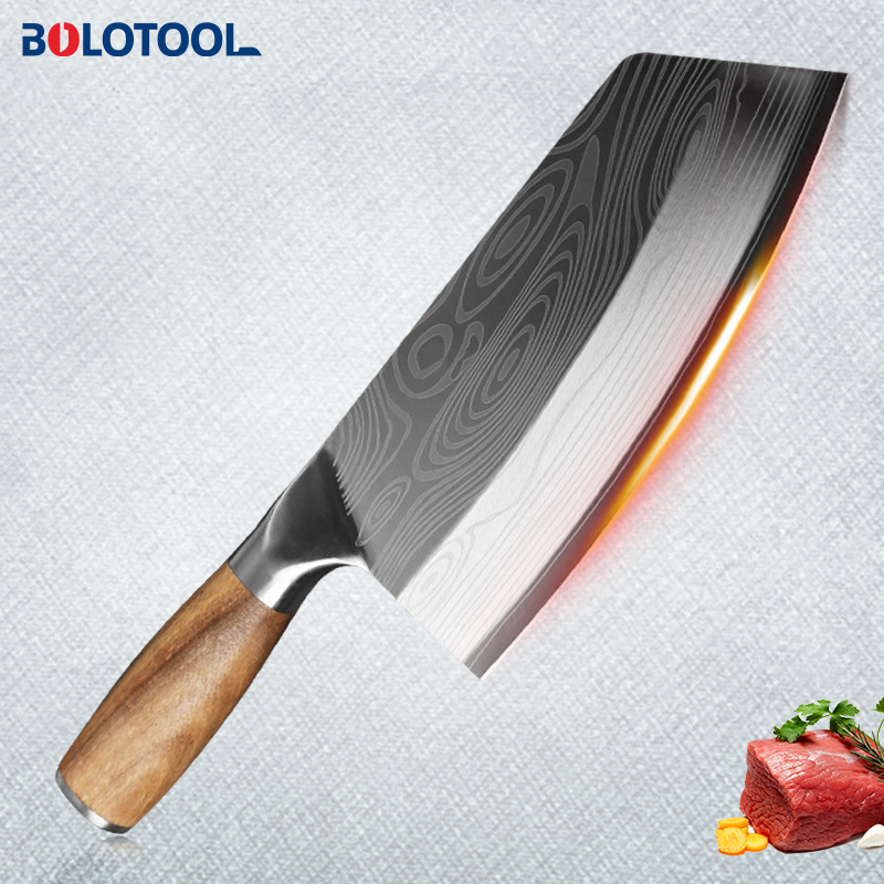 Knife Kitchen Damascus Laser Pattern Meat Cleaver Chinese Chef Chopping Slicing Knife 40CR13 Stainless Steel Vegetable Cutter|Kitchen Knives|   - AliExpress