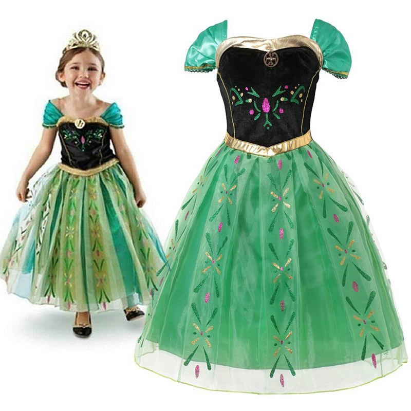 Anna Green Princess Dress For Baby Girl Embroidery Shoulderless Floral Anna Party Dress Kid Cosplay Clothes Summer Fancy Costume