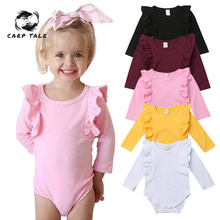 Newborn Baby Girl Ruffled Solid Color Long Sleeve  Romper Jumpsuit Outfit Sunsuit Autumn Winter Baby Girl Bodysuits 3-18 Month цены