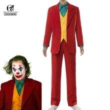 Rolecos coringa traje cosplay palhaço traje de halloween coringa homem uniforme de filme palhaço terno de negócios