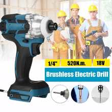 18V 520N.m Electric Cordless Drill Hammer Screwdriver Power Tools Brushless Cordless 1/4''Impact Drill for Makita Battery