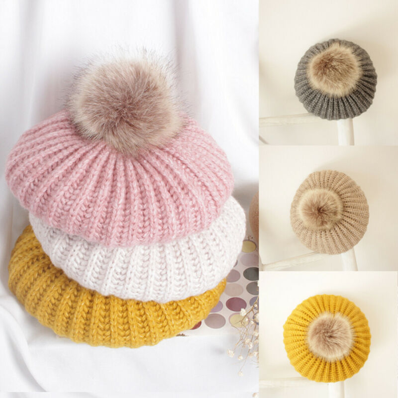 Cute Pom Balls Beret Cap Unisex Baby Toddler Winter Warm Knitted Hat Casual Solid Color Cap For 2-6T Kids Girls Boys