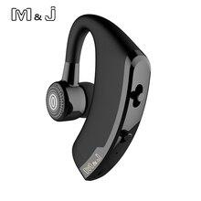 M & J V9 يدوي الأعمال بلوتوث سماعة مع مايكروفون التحكم الصوتي سماعة لاسلكية تعمل بالبلوتوث سماعة لإلغاء الضوضاء محرك