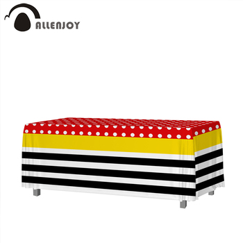 Allenjoy Rectangular Tablecloth Dot Colorful Stripe Birthday Party Home Textile Baby Shower Waterproof Banner For The Table