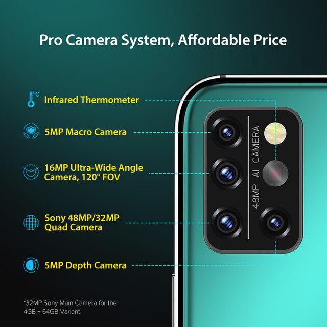 "UMIDIGI A9 Pro SmartPhone Unlocked 32/48MP Quad Camera 24MP Selfie Camera 4GB 64GB/6GB 128GB Helio P60 6.3"" FHD+ Global Version 4"