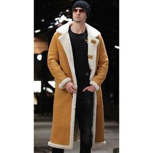 Image 1 - X Lange Echte Schafe Lammfell Jacke Echtpelz Futter Schafe Haut Mantel Männlichen Winter Warme Jacke Männer Pelz Hübscher lange Mantel