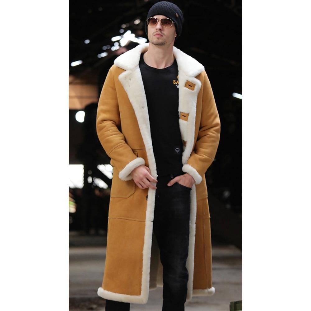 X-Long Genuine Sheep Shearling Jacket Real Fur Lining Sheep Skin Coat Male Winter Warm Jacket Men Fur Handsome Long Overcoat