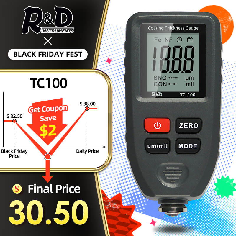 Car-Paint-Film Thickness-Tester Tc100-Coating Measuring-Fe/nfe D Manual Russian