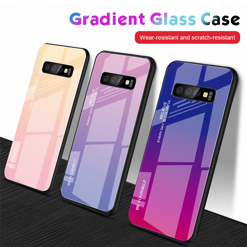 Stained Case for Galaxy Note 8 9 Glossy Tempered <font><b>Glass</b></font> Case for <font><b>Samsung</b></font> Galaxy S8 S9 Plus S10 Lite Gradient Colorful <font><b>Back</b></font> <font><b>Cover</b></font> image