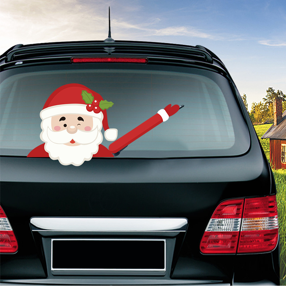 Car Stickers Christmas Decoration Santa Claus 3D PVC Waving Car Stickers Styling Window Wiper Decals Rear Windshield Decoration (4)