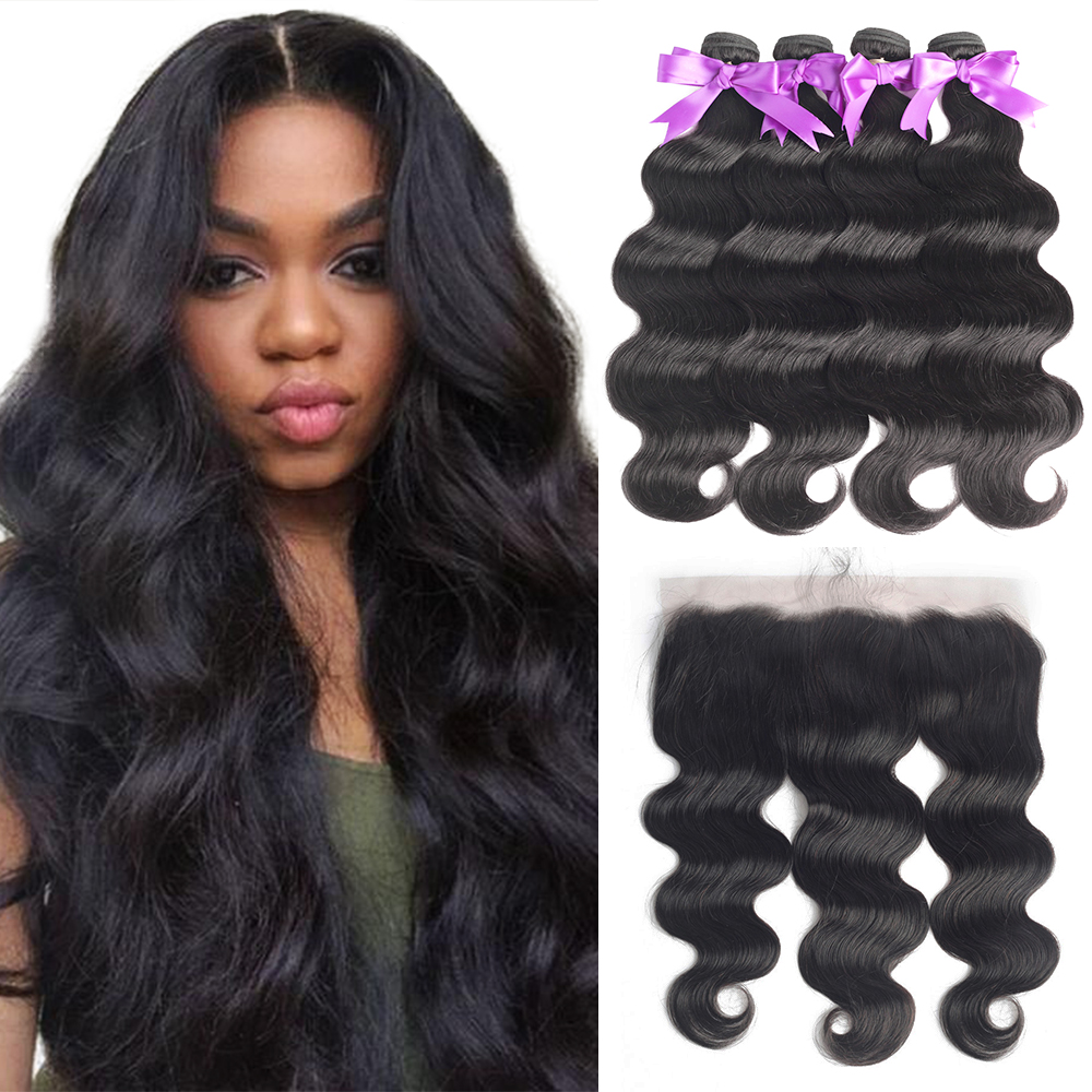 Human Hair Bundles With Frontal Body Wave Brazilian Hair Weave Bundles 13x4 Lace Frontal With Long Bundles 26 28 30 Inch Ms Love