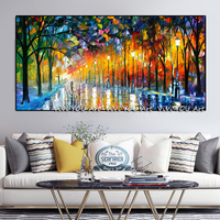 Canvas Painting Landscape painting Walling In Rain Light Road Oil Painting Cuadros Wall Art Pictures for Living Room Home Decor