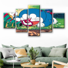 Hd Prints Canvas Modern Pictures 5 Pieces Doraemon Painting Home Decoration Wall Art Anime Poster Modular Living Room Framed