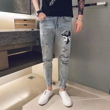2019 New Mens Cool Designer Brand Blue Jeans Print Skinny Ripped Destroyed Stretch Slim Fit Hop Hop Pants With Holes For Men 2016 new black ripped jeans men with holes super skinny famous designer brand slim fit destroyed torn jean pants for male