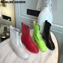 Luxury Women Boots Microfiber Leather Mid-Calf Shoes Platform Thick Heels Round Toe 19 Fashion Colorful Brand Zipper