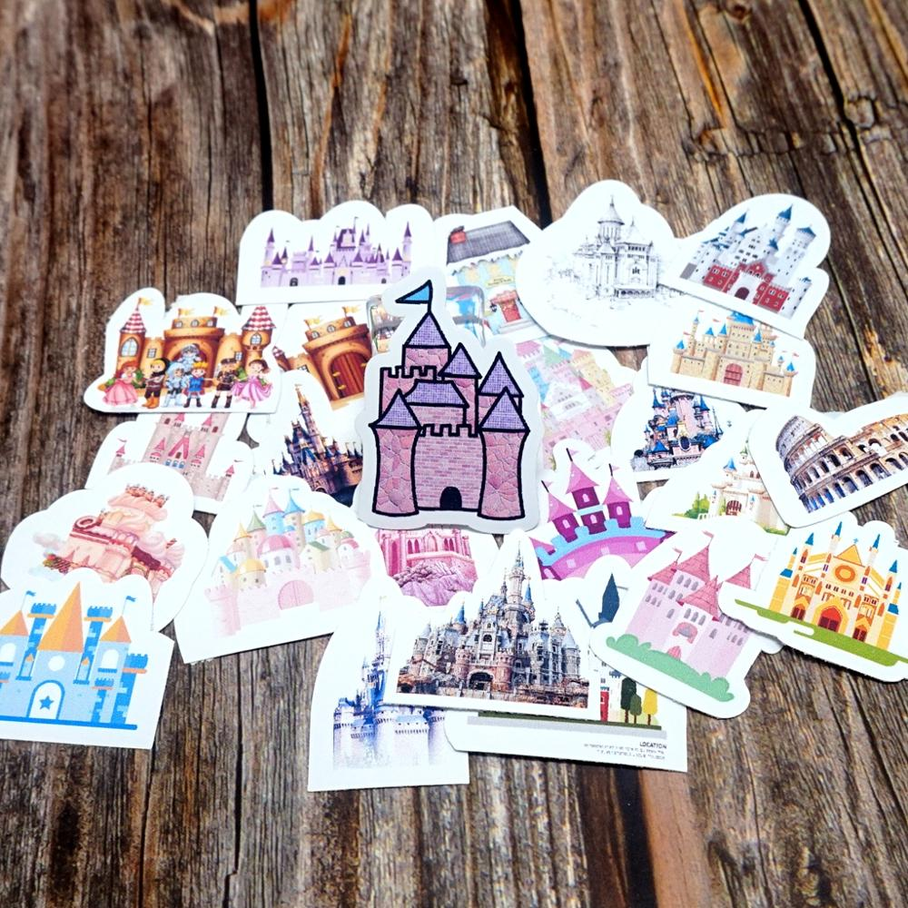 25pcs Cute Cartoon Waterproof Stickers DIY Diary Decorative Stationery Stickers Kids Children Girls Boys Castle Gift Stickers