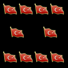 10PC Turkey Flag Pattern Lapel Brooch Pin Badge Scarfs Clothes Bag Jewelry