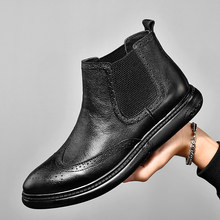 British style mens leisure party nightclub dresses ankle boots black cow leather bullock shoes carved brogue chelsea boot botas(China)