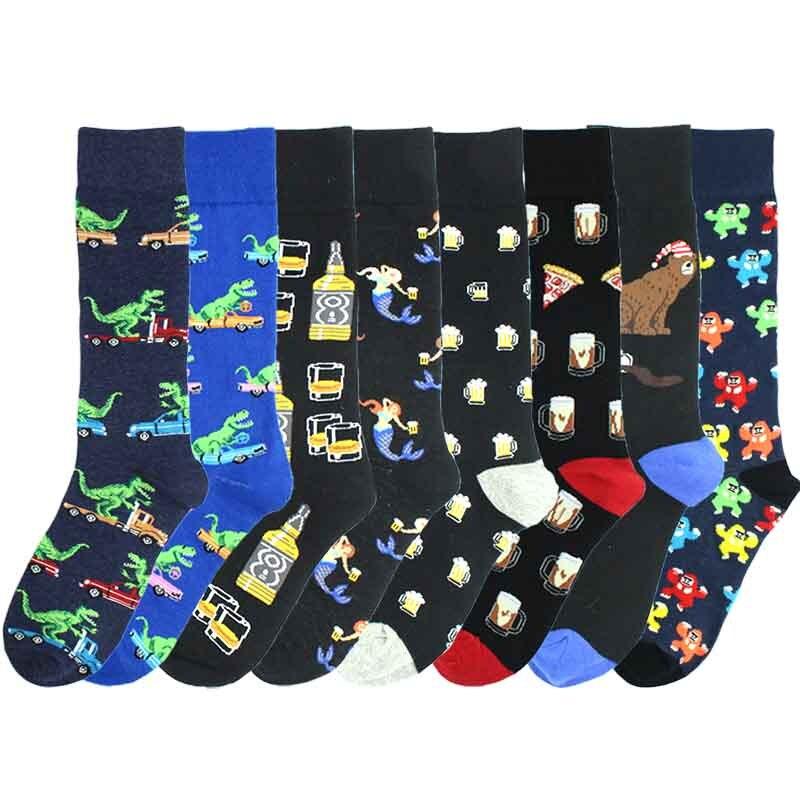 [SOPLCAALCK]Wedding Funny Socks Men Animals Mermaid Dinosaur Pizza Beer Creative Men Socks Calcetines Hombre Divertido Skarpetki