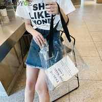 Nova clara mulher tote saco pvc transparente sacola de compras bolsa de ombro tote sacos de viagem sacos de armazenamento ambientalmente