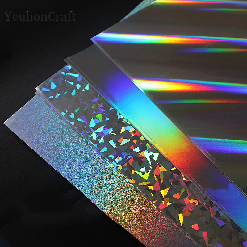 YeulionCraft 5Pcs Hot Stamping Foil Reflective Flash Cardboard Paper Rainbow DIY Glossy Decorative Paper Laser Cardboard Crafts