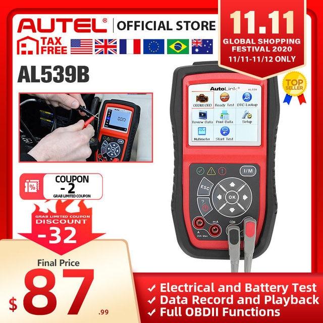 Autel AL539B OBD2 Scanner Code Reader Battery Tester Avometer for 12 Volts Diagnostic Tool Electrical Tester built in speaker