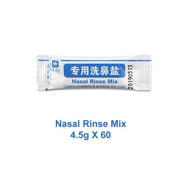 4.5g * 60 paquets de sel de lavage du nez pour bouteille de 500ml mélange de rinçage Nasal en boîte rhinite allergique nettoyant pour le lavage Nasal irrigateur