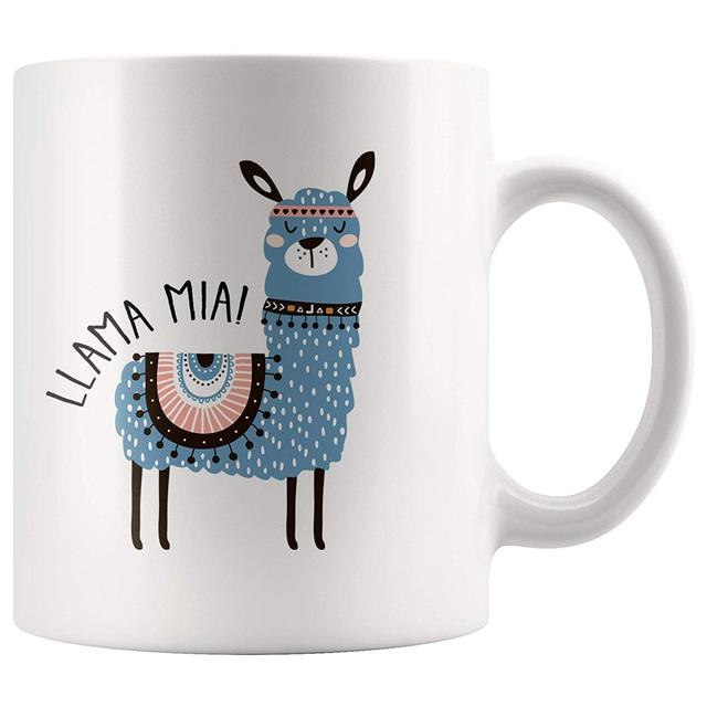 Llama Mia Parody White 11 Ounce Ceramic Coffee Mug