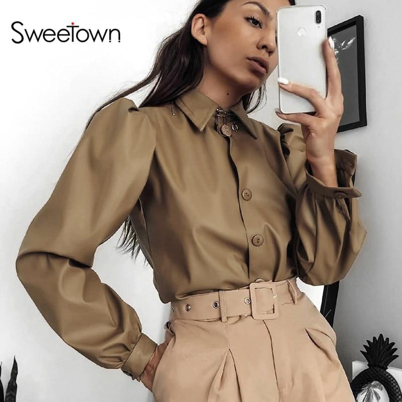 Sweetown 2020 новые винтажные женские рубашки с пышными рукавами, блузы, однобортные женские блузки с отложным воротником, Manches Bouffantes|Блузки и рубашки| | - AliExpress