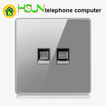 High-grade 1 2 3 4 gang 1 2 way big panel Grey switch socket Type 86 Wall 2.5D Cambered Mirror Toughened glass Computer TV 8