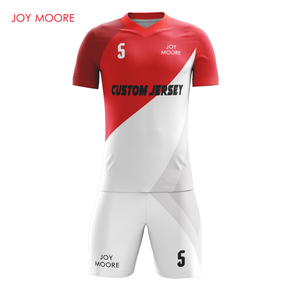 Cool Design Red And White Soccer Jersey Set Professional Customieze Adult Football Jersey Breathable