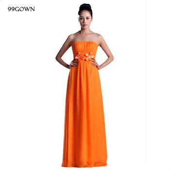 99GOWN Wedding Dress Guest 2019 Simple Orange Pleated Chiffon Long Dress Bridesmaid Dresses Off Shoulder Wedding Party Dress
