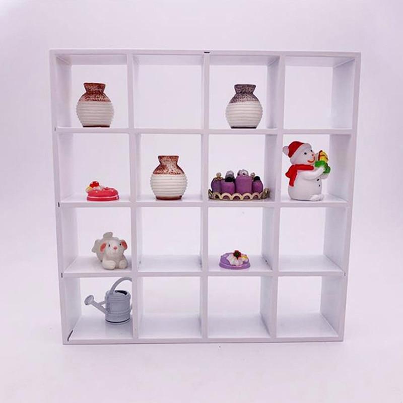 1pc 1: 12 casa de bonecas em miniatura rack de armazenamento de madeira branca 16 grade prateleiras decoração da casa de boneca