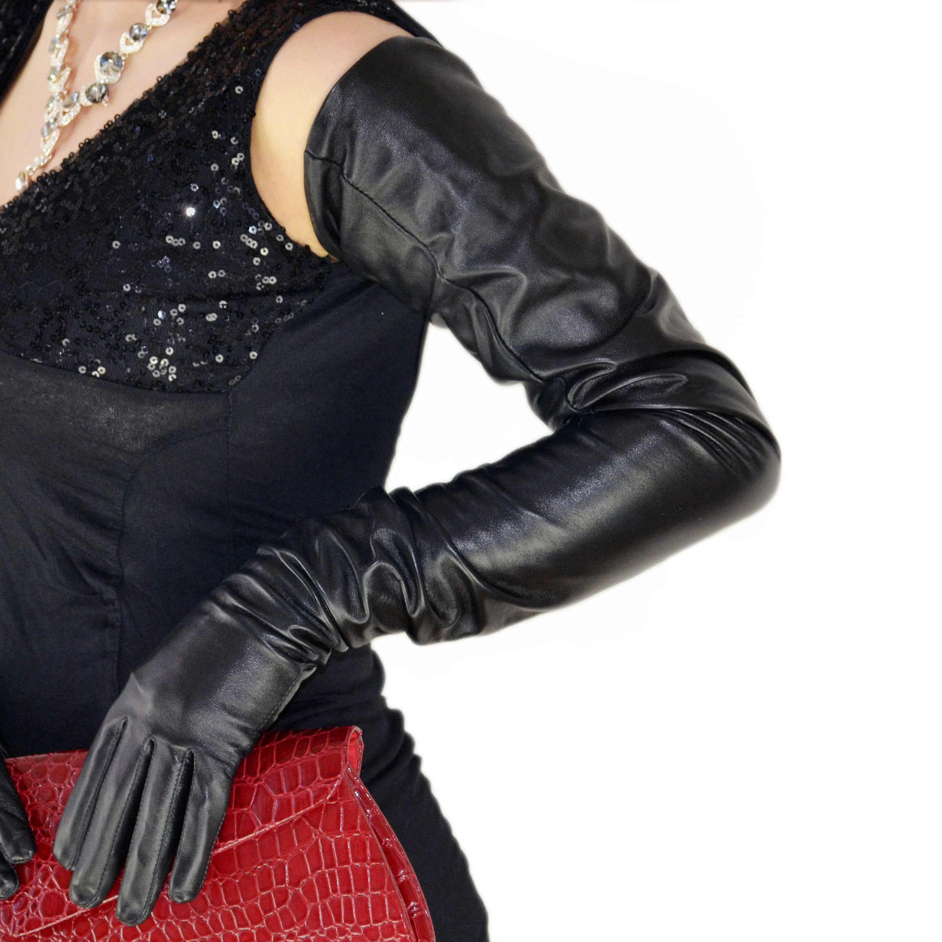 Genuine Blue Leather Punk Opera Length Party Plain Evening Elbow Gloves