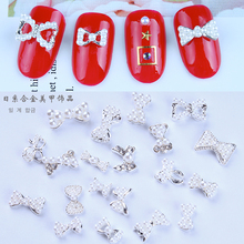 100Pcs/Lot Pearl Alloy Silver Nail Accessories Bow Crystal Rhinestones Gem Jewelry Art Decoration