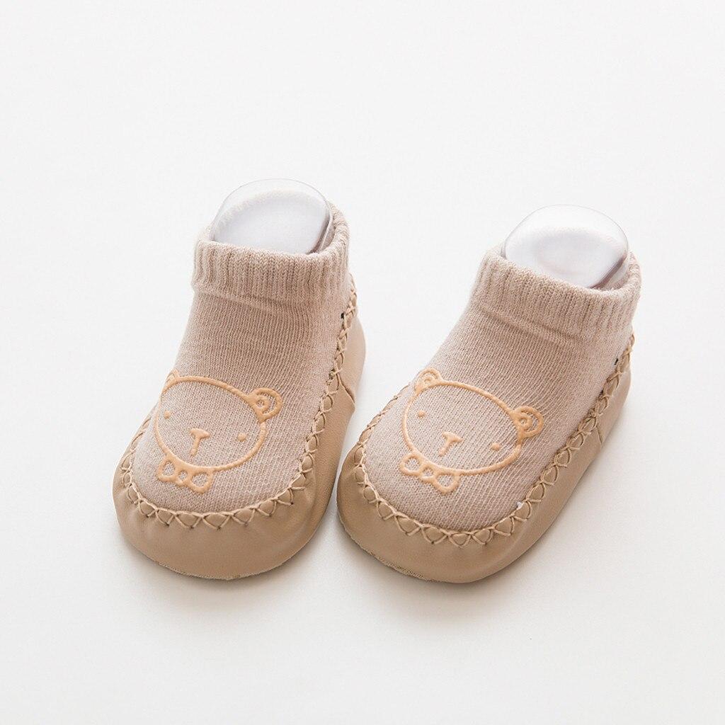 Милые теплые носки-тапочки с героями мультфильмов для новорожденных мальчиков и девочек Нескользящие носки для малышей гетры, детские гольфы, зимние носки для малышей