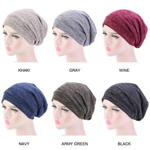 Image 5 - חדש כותנה למתוח מוסלמי טורבן כפת מצנפת הודו כובע סאטן משי מרופד שינה כובע סרטן כימותרפיה כובע שיער אבזרים