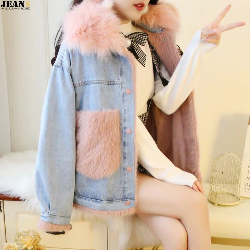 New winter jeans jacket with fleece thermal short womens mink pocket large hair collar