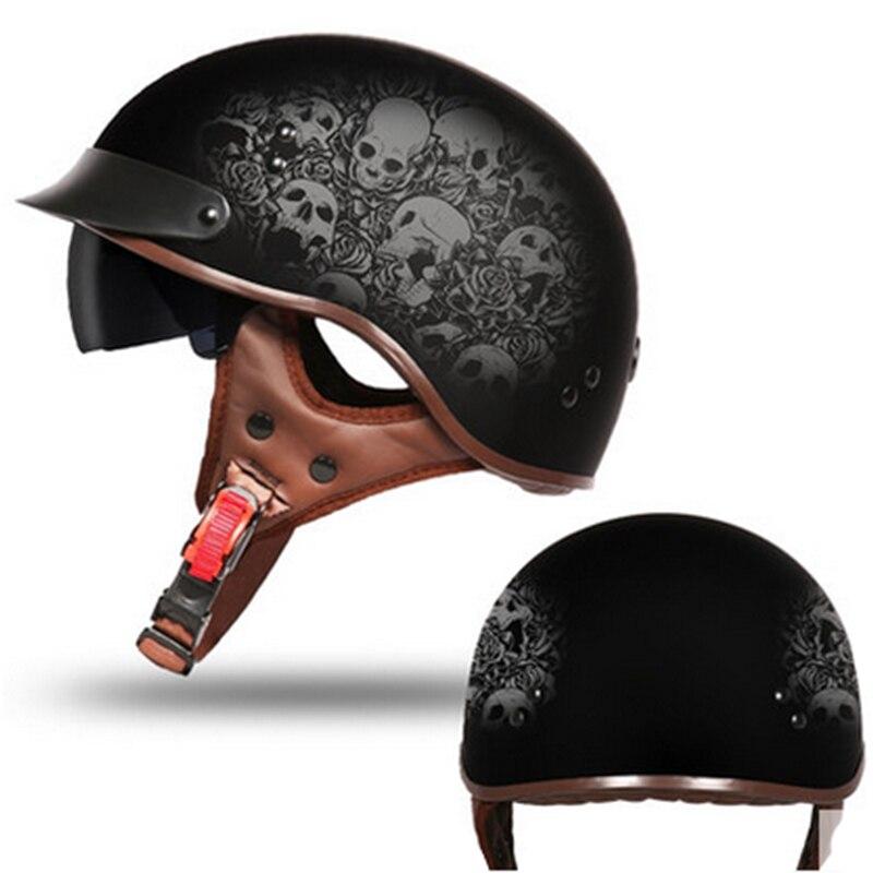 Offre spéciale Vcoros vintage moto rcycle casque personnalité rétro visage ouvert croisière moto rbike casque Scooter casque homme Caso moto