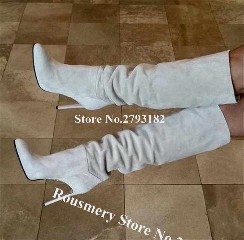 Kadınlar zarif moda sivri burun süet deri diz yüksek Stiletto topuk çizmeler bej uzun yüksek topuk çizmeler elbise topuklu çizmeler